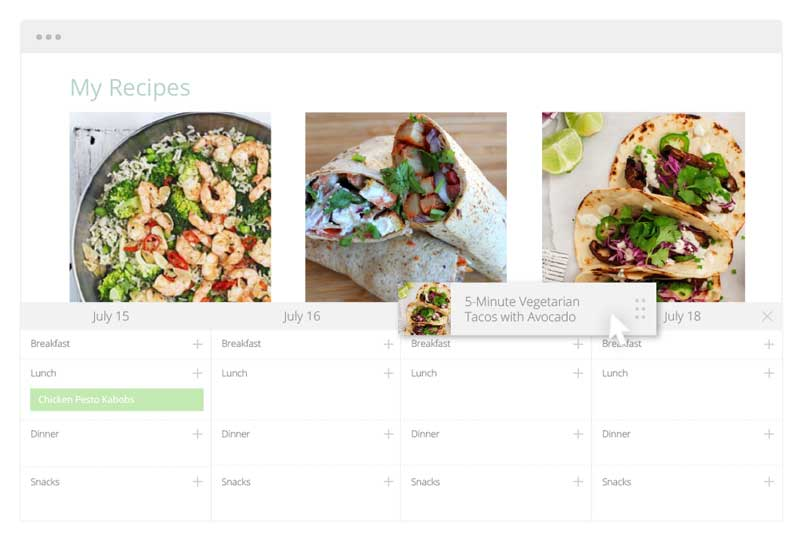 Recipe calendar available through Plan to Eat meal planning service.