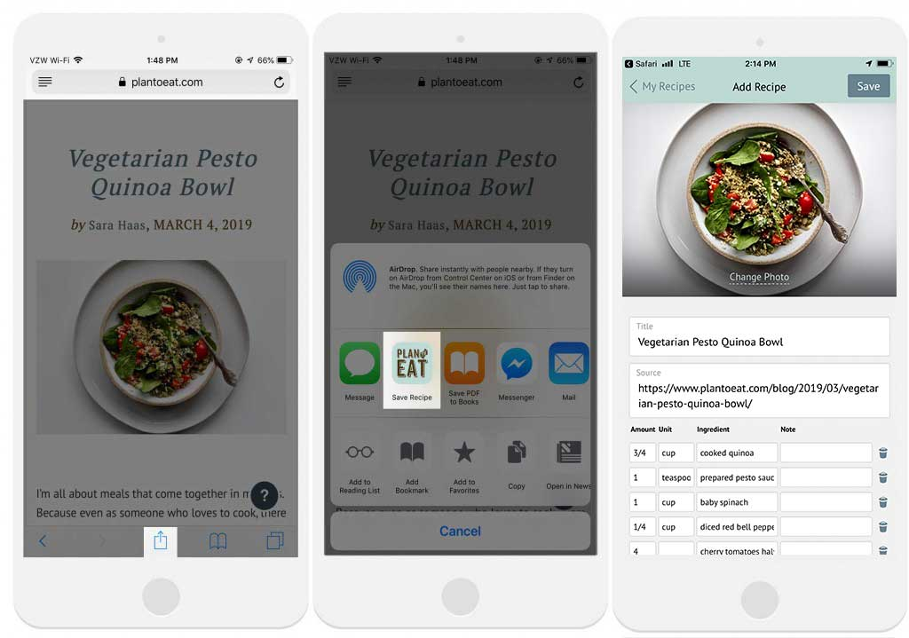 three screenshots of the Plan to Eat app