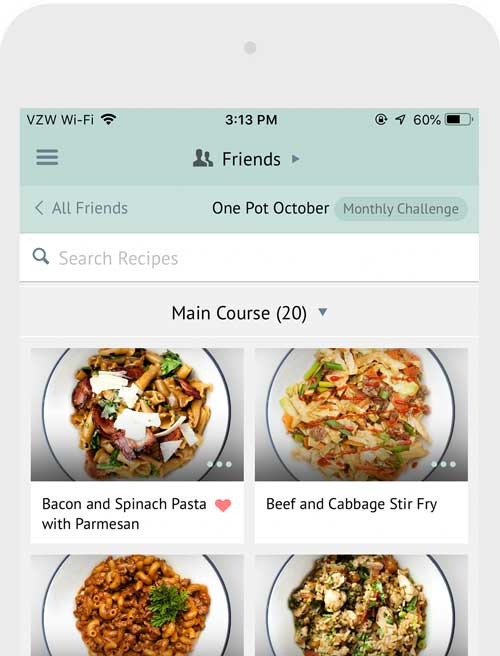 cropped screenshot of the Plan to Eat app displaying recipe cards