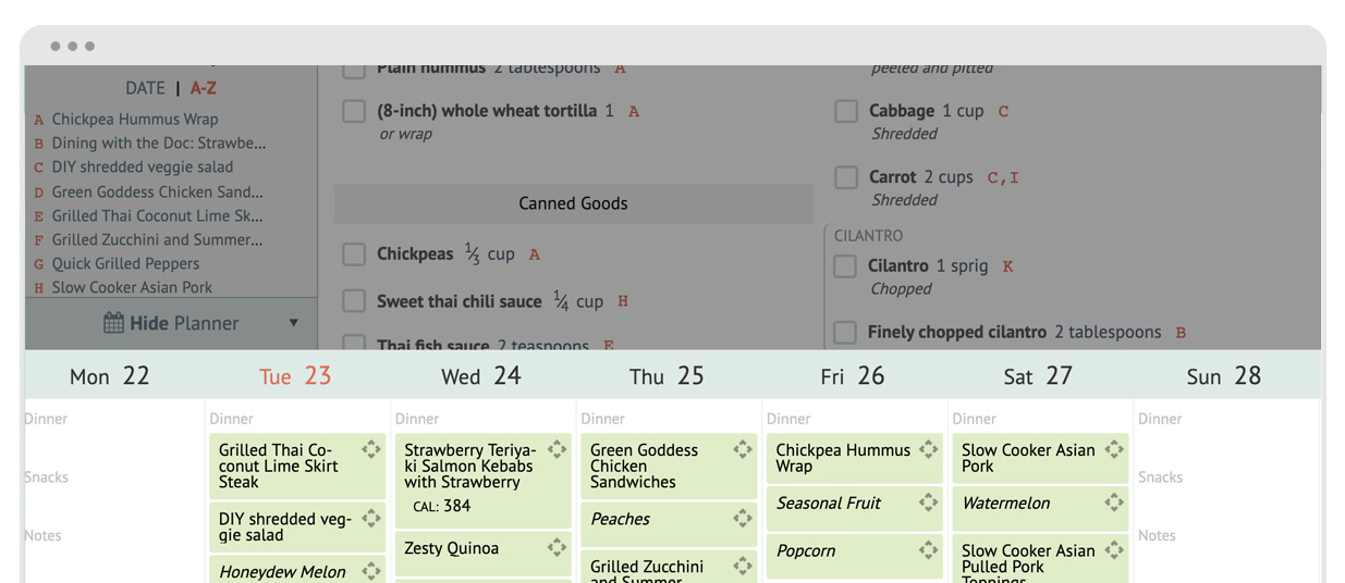 cropped screenshot of the Plan to Eat mini meal planner