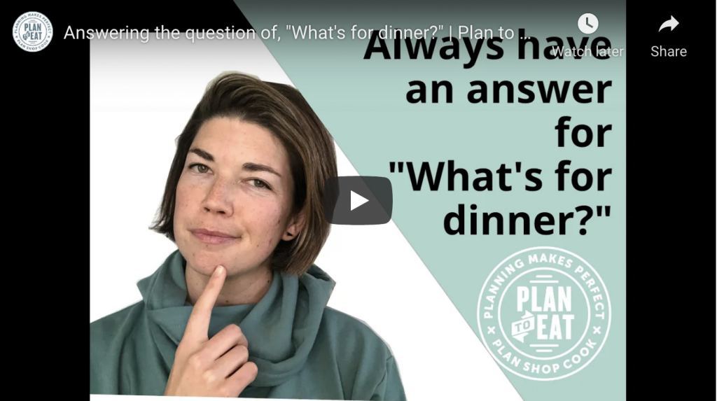 """screenshot of a Youtube video saying """"Always have an answer for """"what's for dinner?"""""""""""