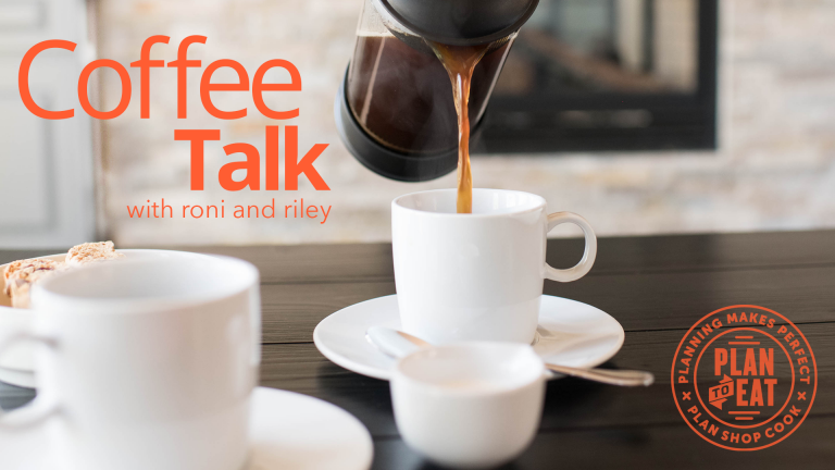 """french press coffee being poured into white mugs. """"Coffee Talk with Riley and Roni"""" in orange text"""