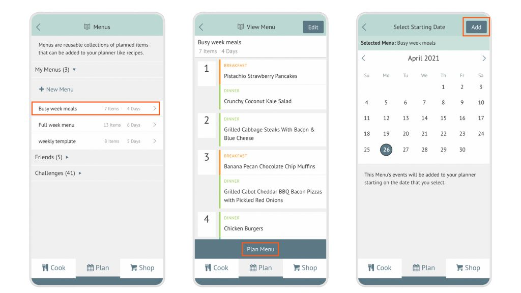 three app screenshots in a row, showing how to plan a Menu in the Plan to Eat app