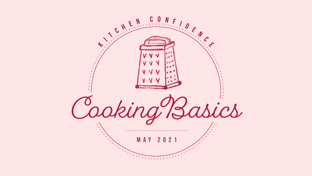"""pink logo says """"Kitchen Confidence"""" and """"Cooking Basics"""" with illustrated cheese grater"""