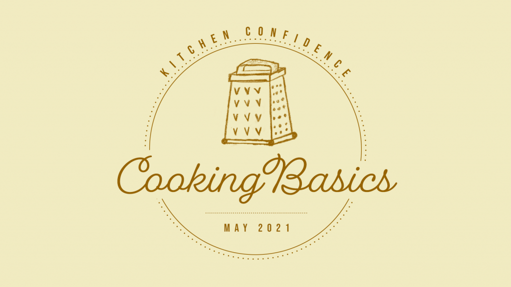 """yellow logo says """"Kitchen Confidence. Cooking Basics"""" with an illustrated cheese grater"""