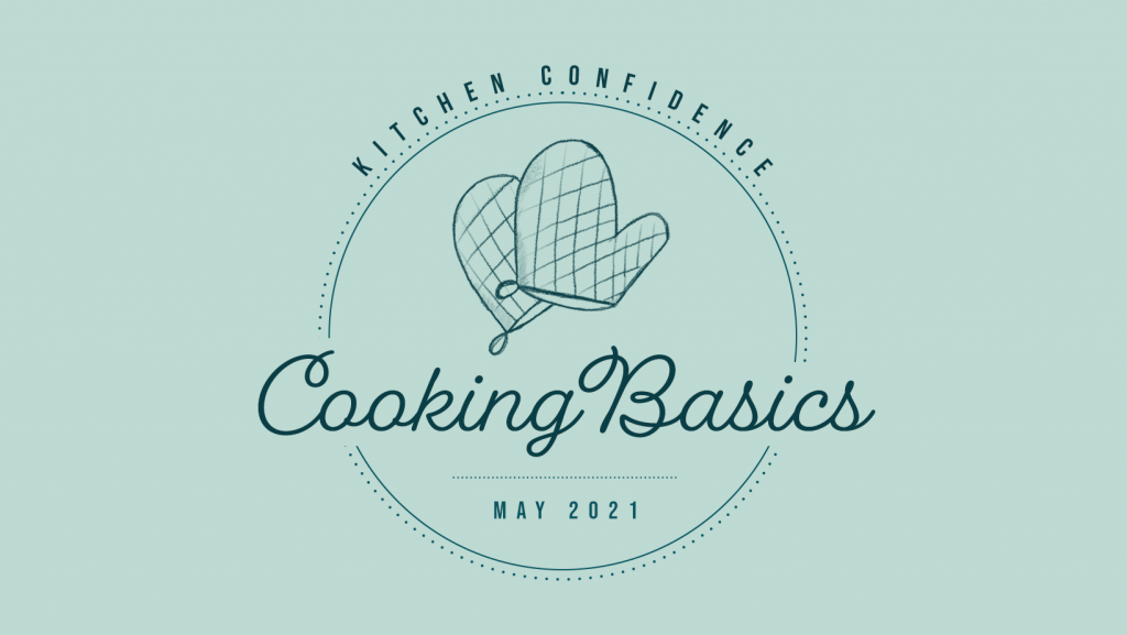 """green logo says """"Kitchen Confidence. Cooking Basics"""" with an illustrated oven mitts"""