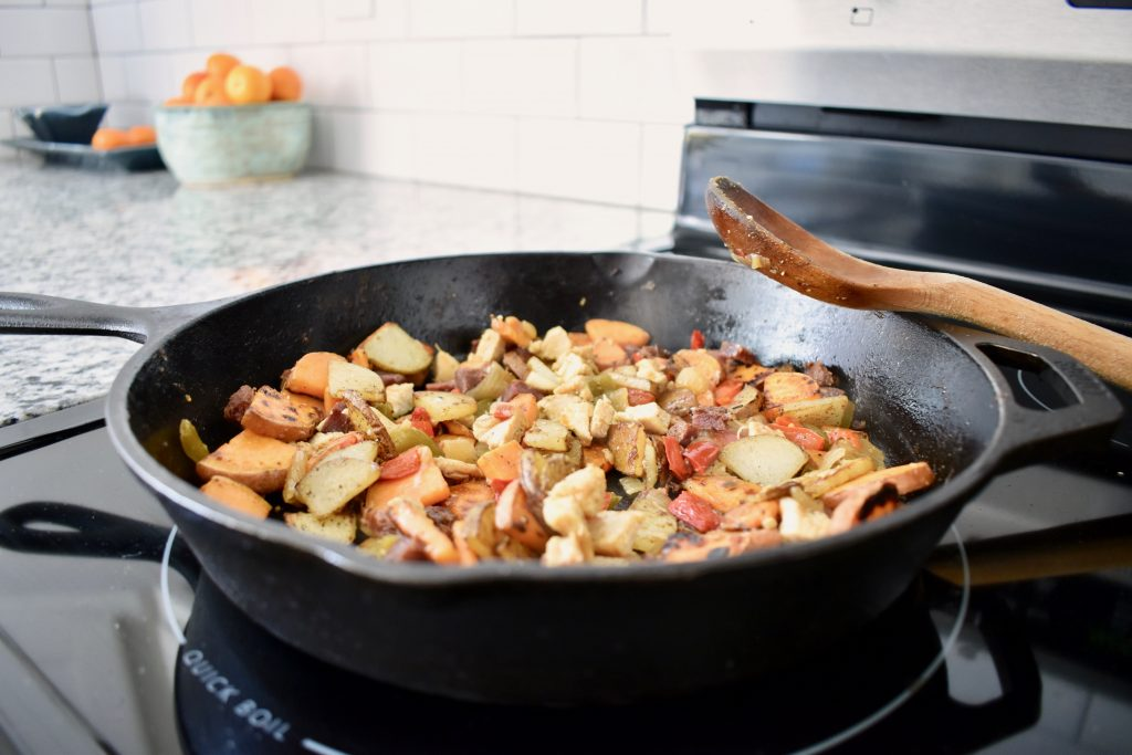 cooked potatoes in a cast iron pan