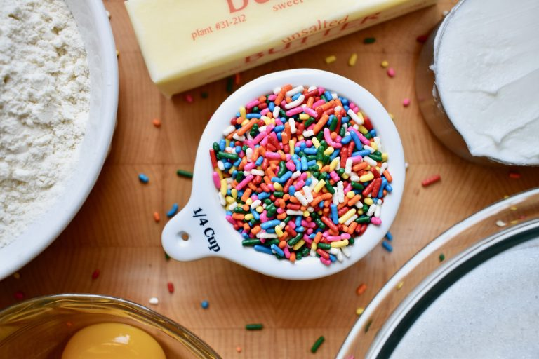 zoomed in image of funfetti sprinkles for cookie recipe