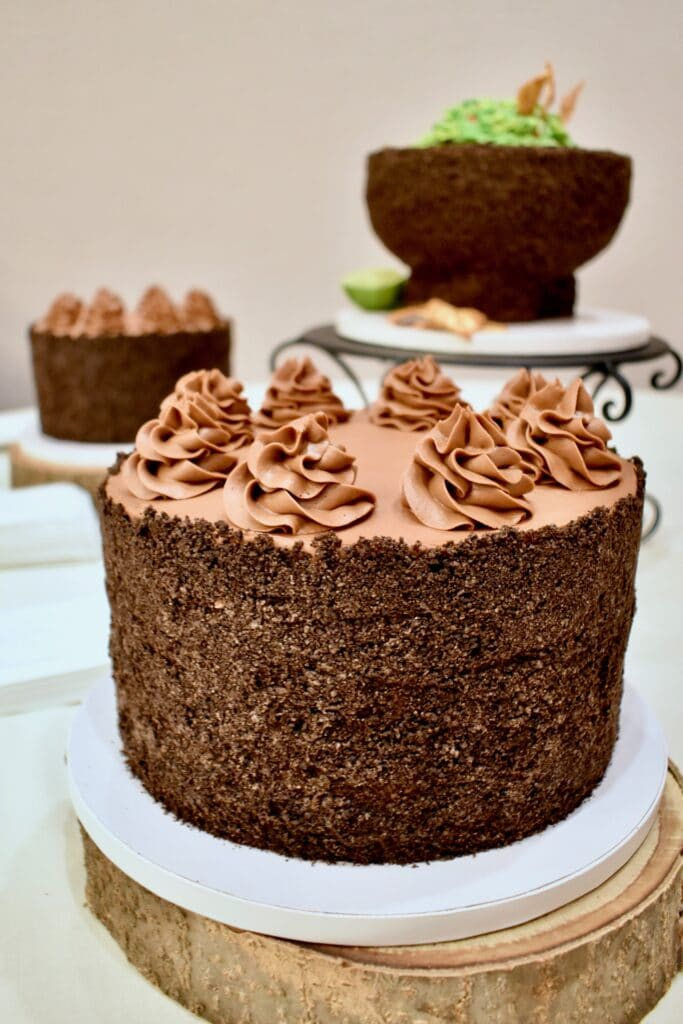 image of chocolate cake with two smaller cakes in the background